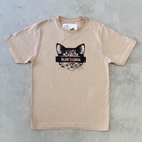 "T.C.B×BLUE SAKURA Collaboration T-SHIRT ""CAT""【BEIGE】/ TCB*BS-CS02-BG"