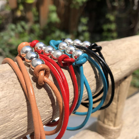 MIKASABI×BLUE SAKURA - LEATHER & SILVER BRACELET / AC16
