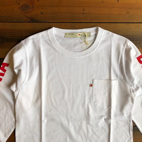 "LONG SLEEVE POCKET T-SHIRT  ""LOGO""【WHITE】/ BS-LCS3-1"