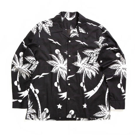 PALM PATTERN L/S SHIRTS /  BLACK  / 13B19SH03SA