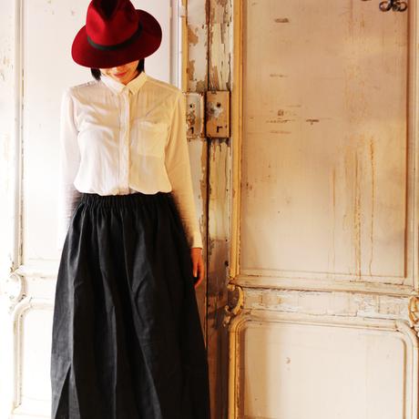 {Pocket color long skirt}ブラック