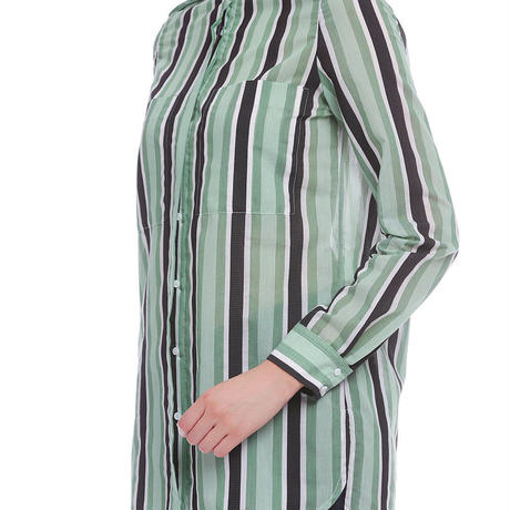 ワイドストライプシャツ    c/#GREEN 85700-100