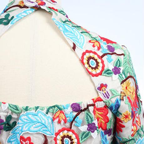 フラワー刺繍チュールトップス   c/#BEIGE  85615-008
