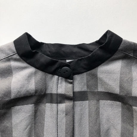 check stand collar shirt