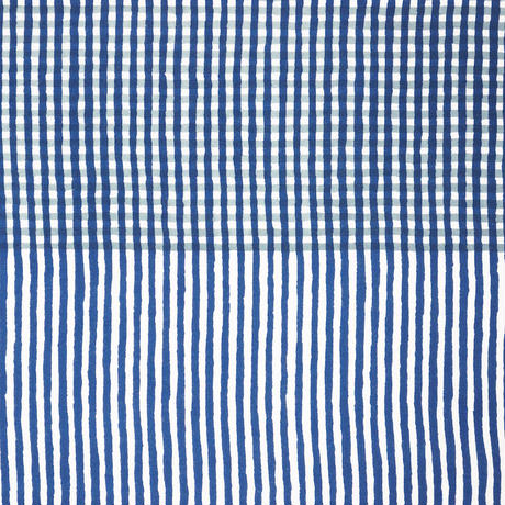手拭い【 縞々格子 】紺鉄 × 灰