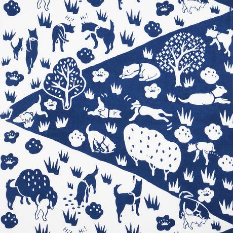 手拭い【 犬の散歩 】印度藍