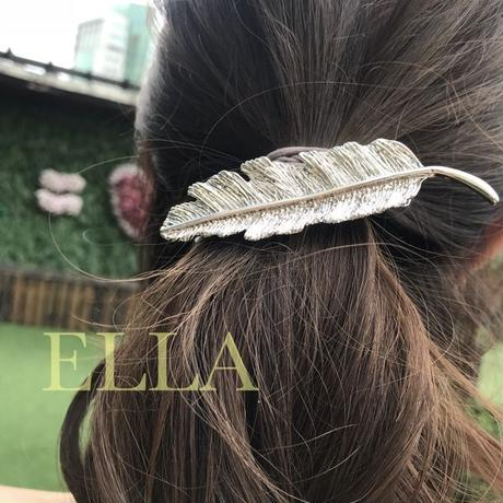 即納★Feather hair barrette/SLV
