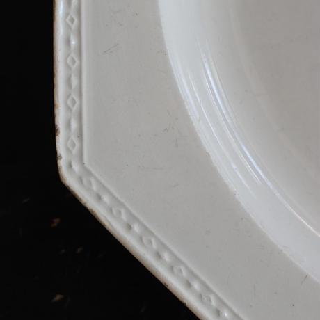 CREIL (クレイユ) 19世紀 菱形装飾オクトゴナル ・デザートプレートφ20cm