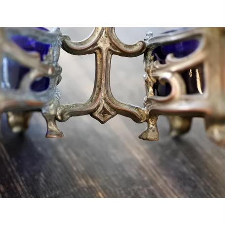 フランスアンティーク・Salière / poivrière(塩胡椒入れ)真鍮・ブルーガラス