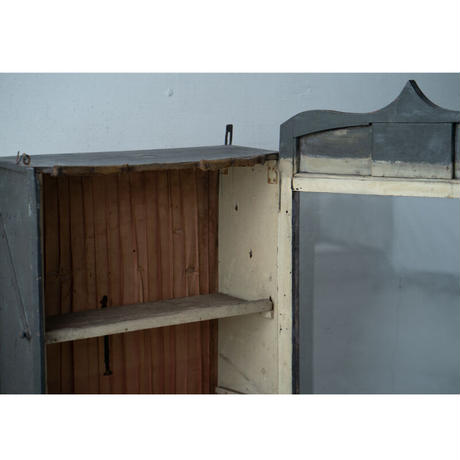 フランスアンティーク・壁掛けガラス棚