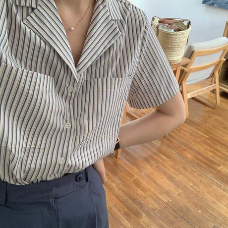 【即納】stripe short shirt