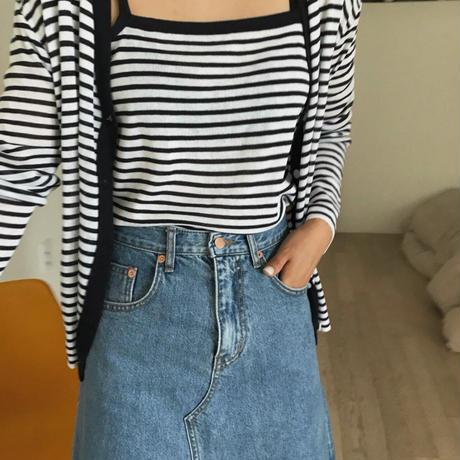 【一部即納】【予約販売】border cami cardigan set