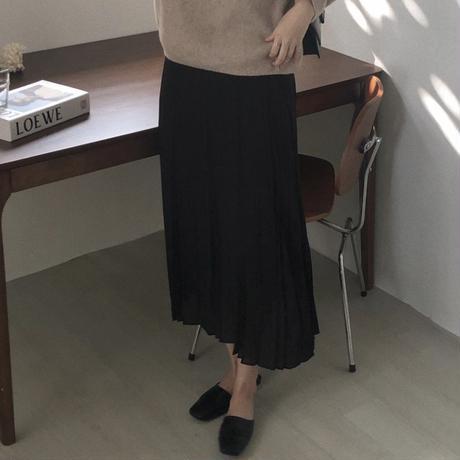 【即納】black pleats skirt