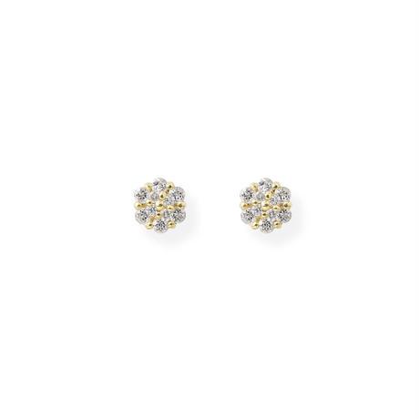 K10YGダイヤモンド0.02ct/ホワイトトパーズピアス
