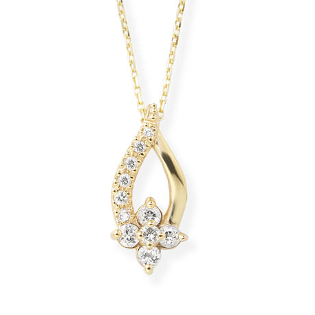 K10YGダイヤモンド/ホワイトトパーズネックレス