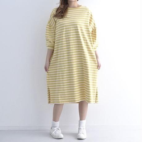[1305op]ボーダードロップショルダーふんわり袖ワンピース