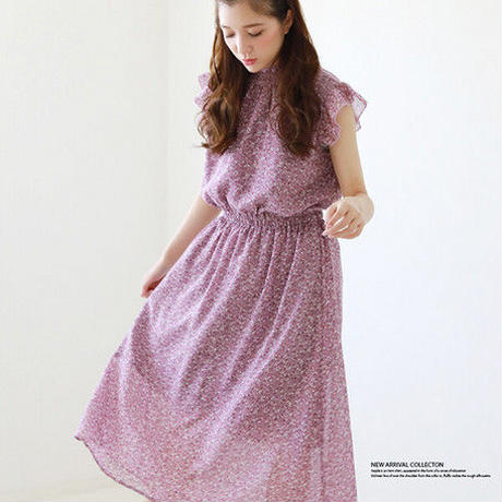 [1779op]衿シャーリングフリル袖ワンピース