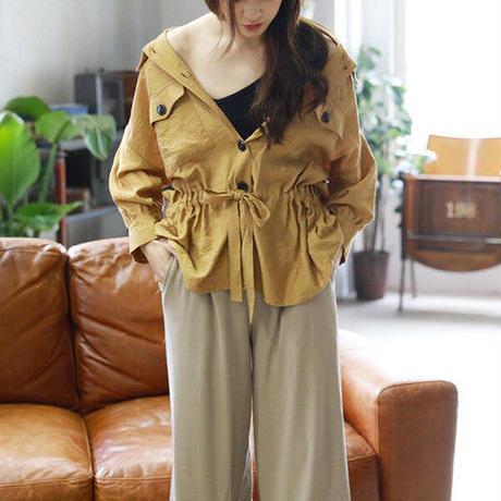 [1778pts]テレコ裾スリットワイドパンツ