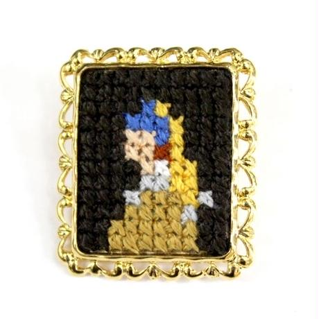 名画ブローチ #真珠の耳飾りの少女 大 /  大図まこと TOKYO PiXEL.