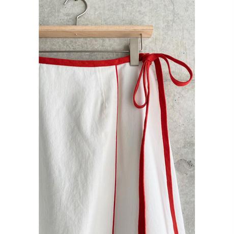 sneeuw / ラインラップスカート |ホワイト&レッド