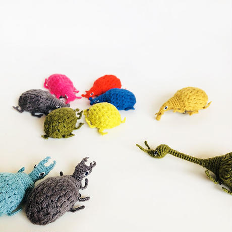 203gow /編みムシムシブローチ  [Knitting Beetle brooch] 4-Type