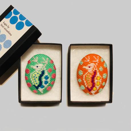 こぎんミジンコブローチ 2-Color/ 水島ひね Hine Mizushima