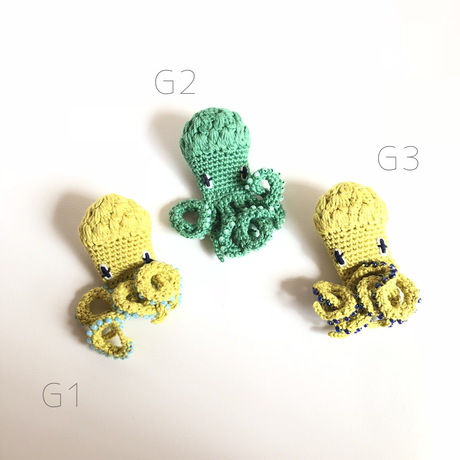 編みタコ ブローチ [ Knitting Octopus Brooch]/ 203gow