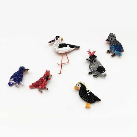 吉丸 睦 / 世界の鳥ビーズブローチ11 セイタカシギ|日本