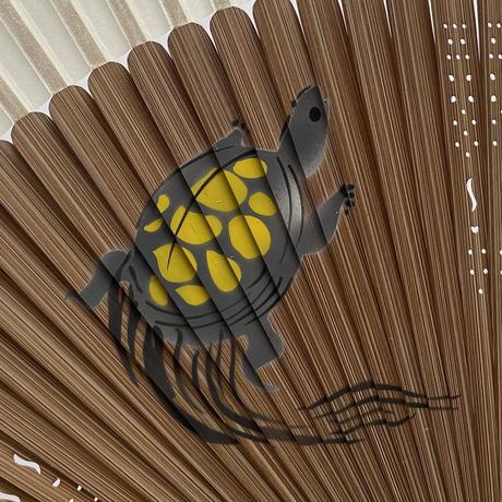 83SELECT /  手描き扇子 短地 絹  蛙 亀|2-Type