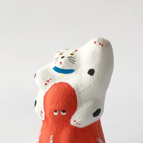 habotan / 肩ぐるましてもらう招き猫|土人形 3