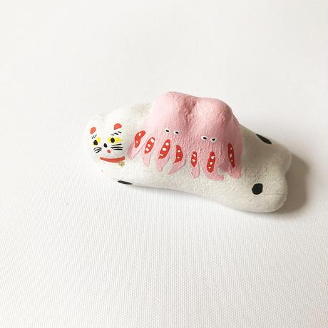 habotan / 小ダコ乗せ猫|土人形