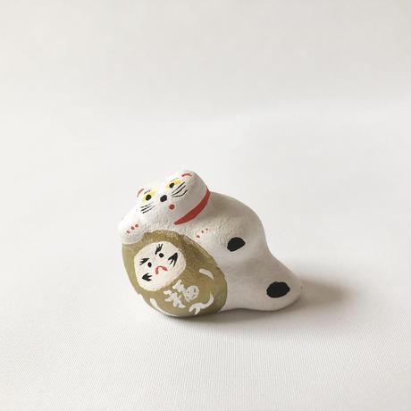 habotan / 金だるま寄り添い猫 土人形