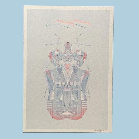 ヘルミッペ / リソグラフ ポスター|アワダチソウグンバイ 青