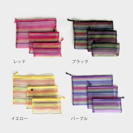 鉄窓花書房 tamazo /  台湾 メッシュポーチ 3-set|4-Color