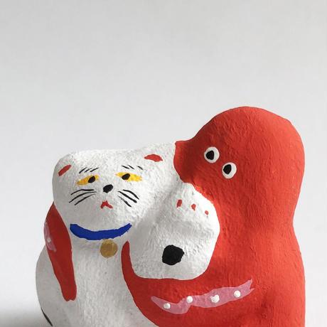 habotan / 招き猫にからむタコ 土人形 : 03