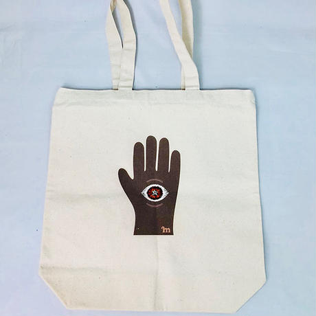 プリント刺繍 トートバッグ [手の目 アミュレット]/ 山口 マナビ