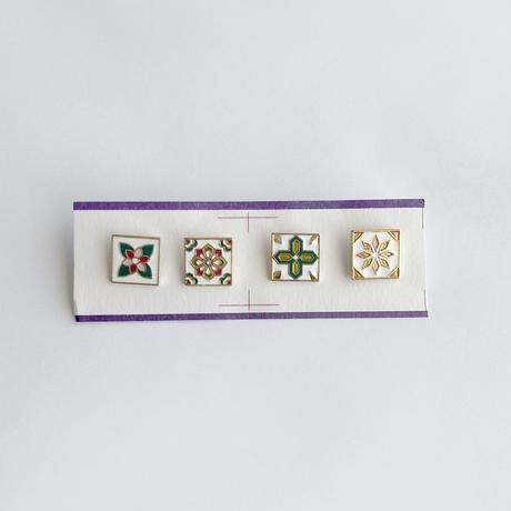 鉄窓花書房 tamazo /  台湾 マジョリカタイル PINS ピンバッジ4セット| B:幾何学
