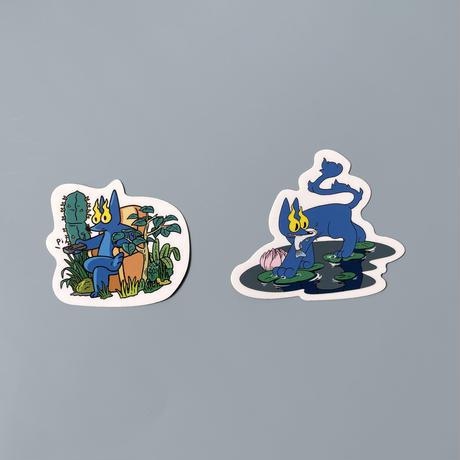 前田 麦 / EYE OF FIRE STICKER  BLUE  NATURE|2-Type