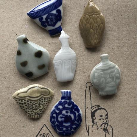 ツタンカーメン堂 / 陶磁器 壺・茶碗ボタンアソート|7セット