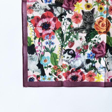 83SELECT / Nathalie Lete ハンカチ 猫と花  CAT&Flower