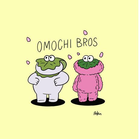 前田 麦 / ステッカー  柏餅ちゃん 桜餅ちゃん OMOCHI BROS.|2-Type