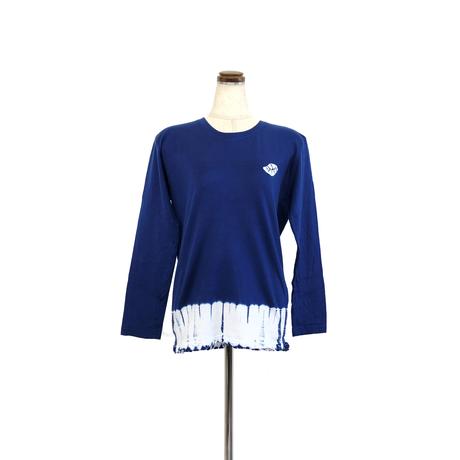 suzusan Cotton Dual-Layered Long Sleeve T-Shirt Navy Blue