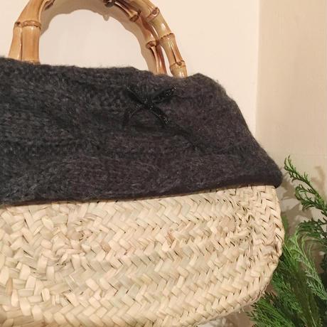 バンブーケーブル編みカゴバック