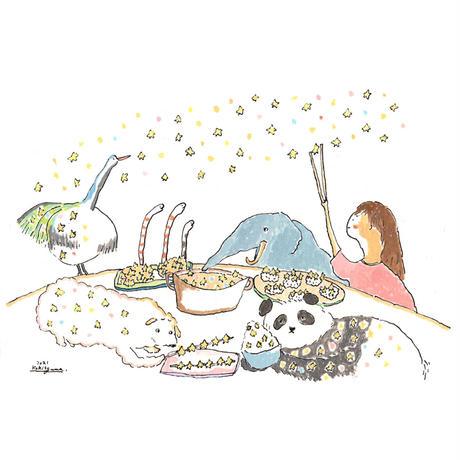 [原画]おぐまこうきさん空想カフェスケッチ2021年7月「星の料理」