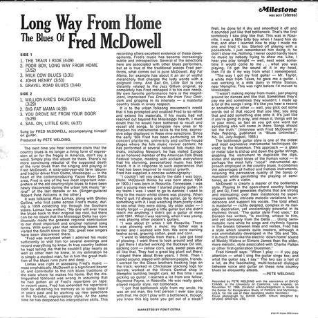 フレッド・マクダウェル/ Long Way From Home The Blues Of Fred McDowell(1982 ITALY ORIGINAL,HBS8017)(LPレコード)