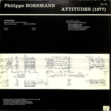 エリーゼ・ロス / フィリップ・ボースマンス:アティテュード(1980 HOLLAND ORIGINAL,RIC002)(長岡鉄男の外盤A級)(LPレコード)