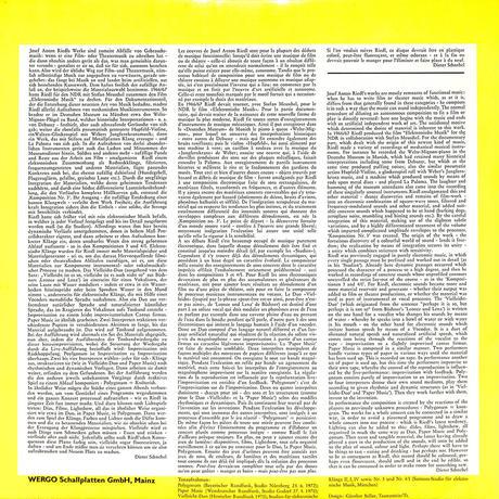 ヨーゼフ・アントン・リードル作品集(GERMANY WERGO ORIGINAL,WER60066)(長岡鉄男の外盤A級)(LPレコード)