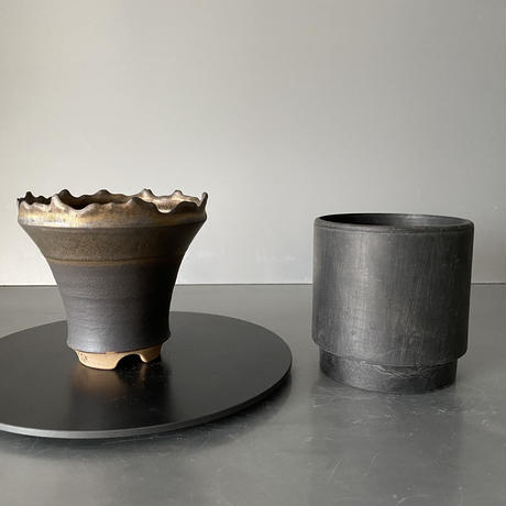 【 S.N.Pot  - crown - 4号 】王冠型  笠間焼  植木鉢  SN-15