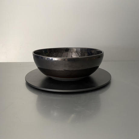 【 Do-kyo-pot M 】浅鉢(丸) ~ 銅鏡 ~ 5.5号鉢 笠間焼 No. 74