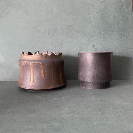 【 S.N.Pot ''土管'' - crown - 4号 】笠間焼  植木鉢